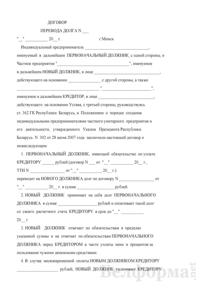 Договор перевода долга (при создании частного унитарного предприятия индивидуальным предпринимателем). Страница 1