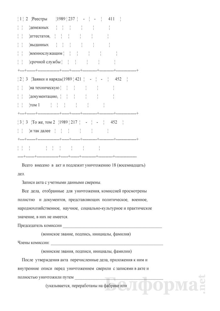 Акт на архивные дела, отобранные в ходе проведения экспертизы к уничтожению. Форма № 12. Страница 2