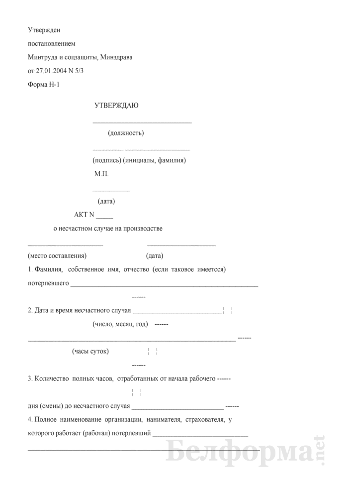 Акт о несчастном случае на производстве. Форма № H-1. Страница 1