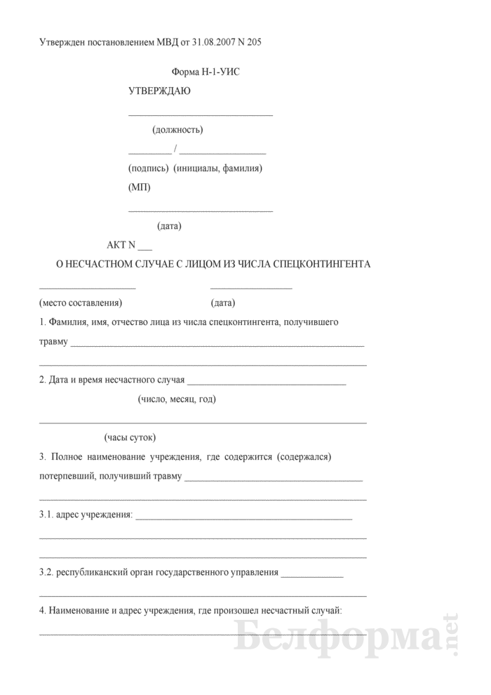 Акт о несчастном случае с лицом из числа спецконтингента. Форма № Н-1-УИС. Страница 1