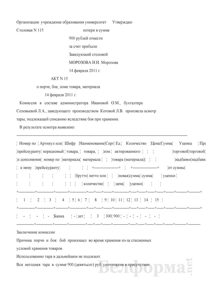 Акт о порче, бое, ломе товара, материала (Образец заполнения). Страница 1