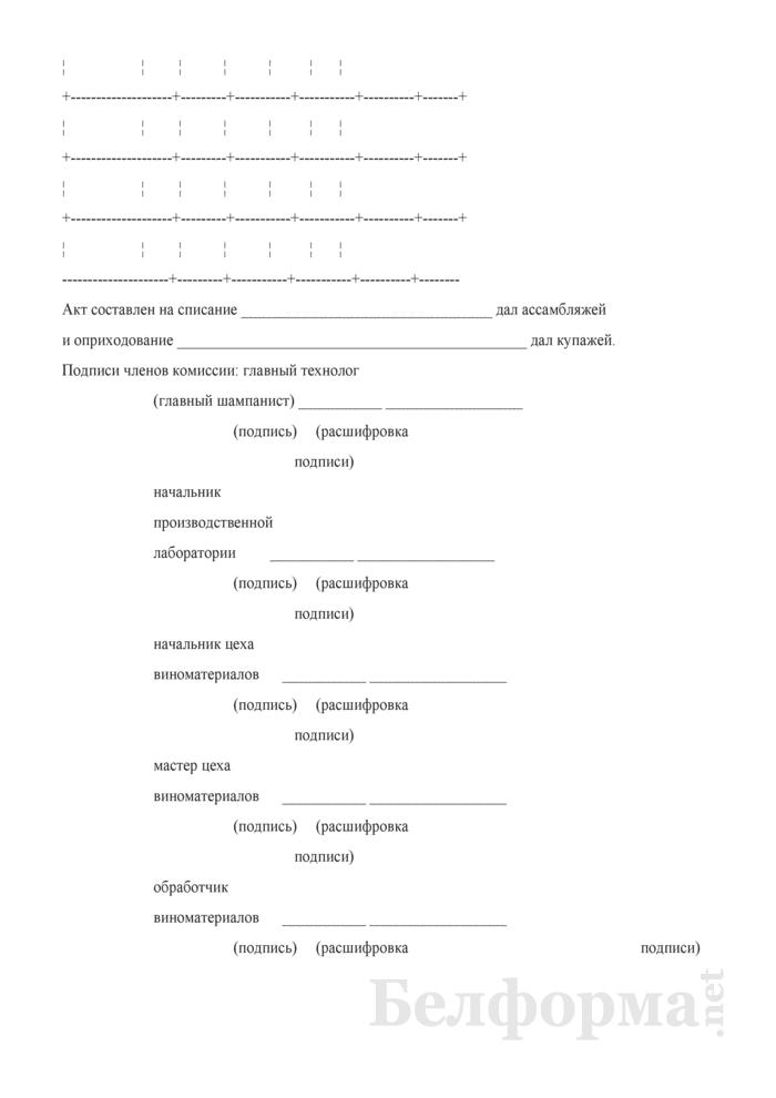 Акт о списании ассамбляжей и оприходовании купажей (Форма П-7 (игристое)). Страница 3