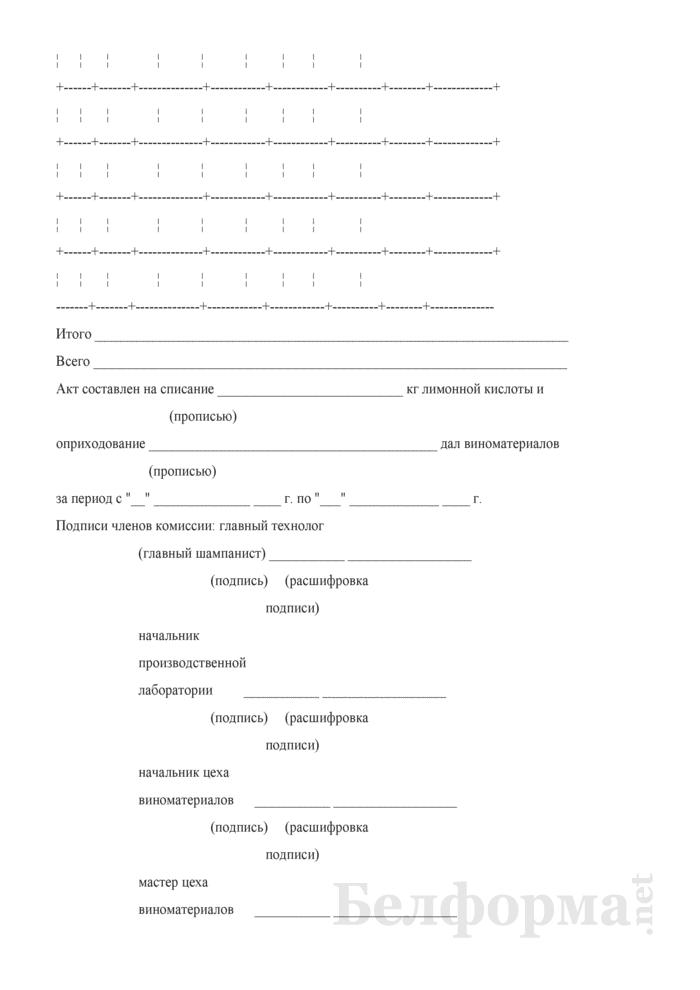 Акт о списании лимонной кислоты (Форма П-8 (игристое)). Страница 3
