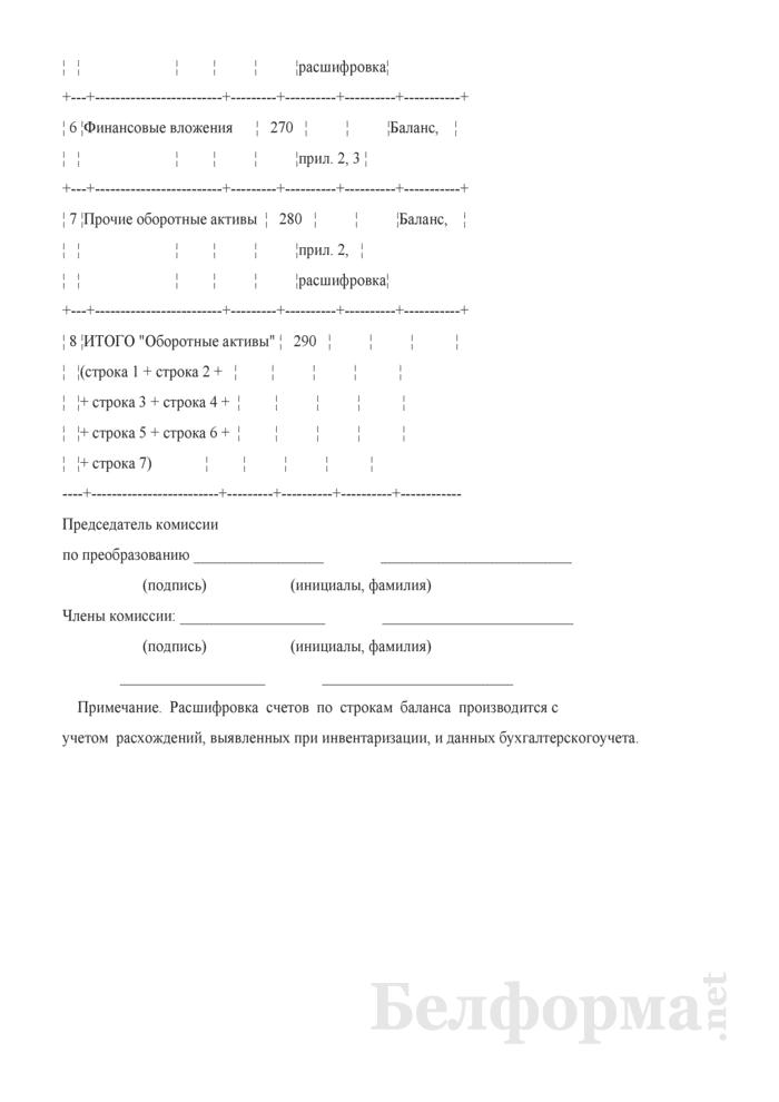 Акт определения стоимости оборотных активов (при определении размера уставного фонда открытого акционерного общества, создаваемого в процессе приватизации объектов, находящихся в коммунальной собственности Могилевского района). Страница 2