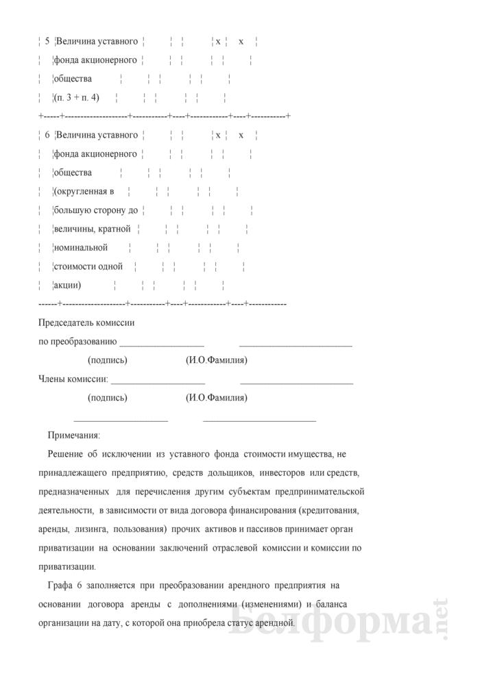 Акт определения величины уставного фонда акционерного общества, создаваемого в процессе приватизации собственности Гродненского района. Страница 7