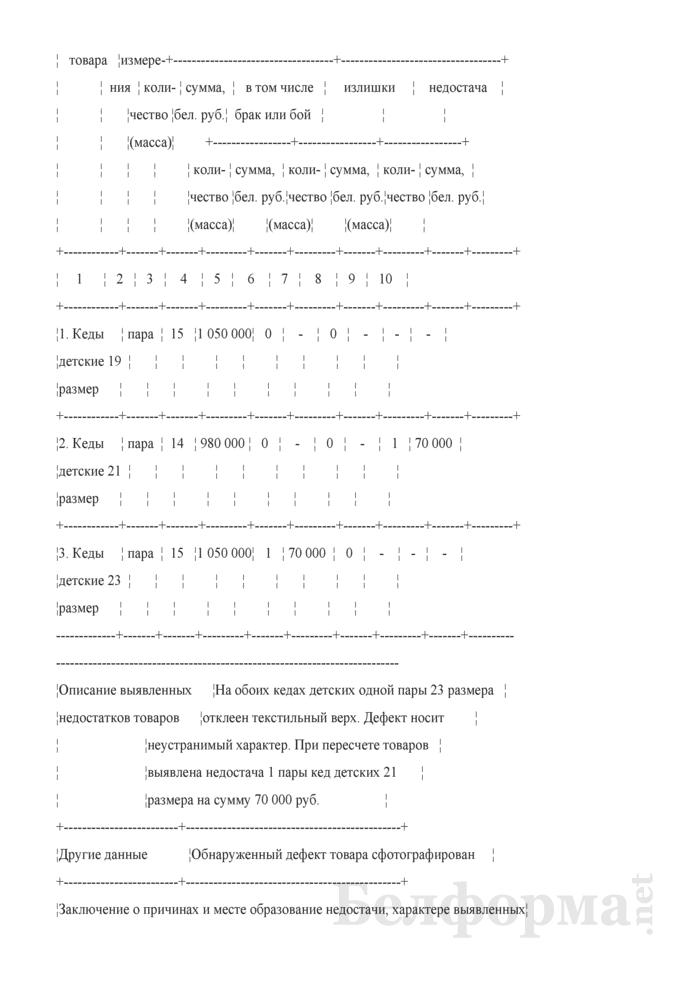 Акт приемки товаров по количеству и качеству (Образец заполнения). Страница 6
