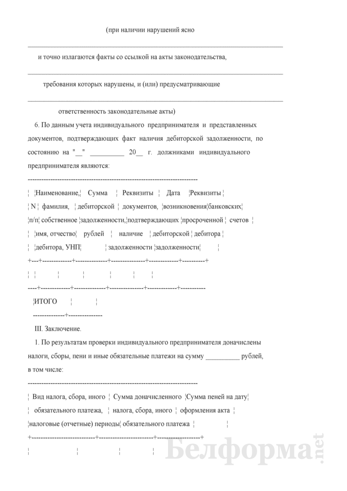 Акт (справка) выездной проверки плательщика (иного обязанного лица) - индивидуального предпринимателя. Страница 6