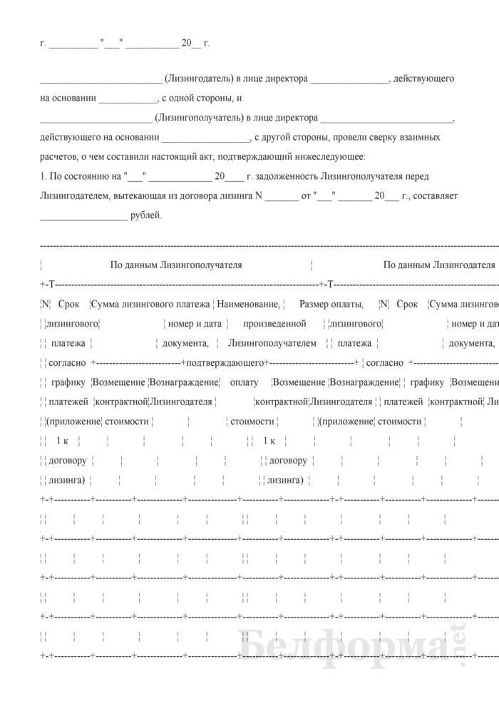 Акт сверки расчетов между Лизингодателем и Лизингополучателем. Страница 1