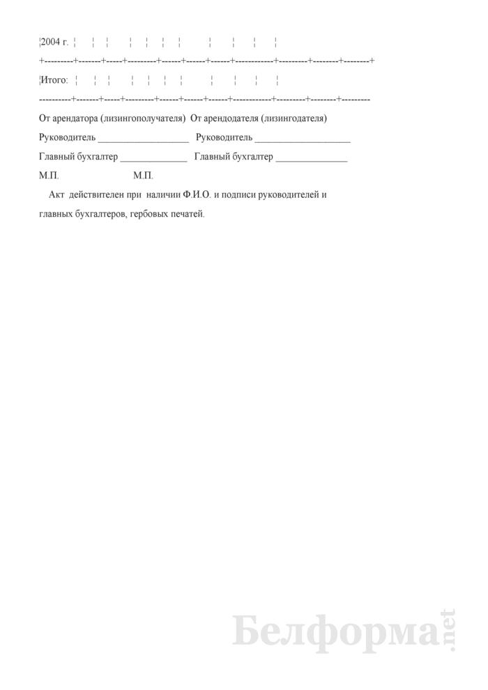 Акт сверки расчетов по сельскохозяйственной технике, полученной в долгосрочную аренду (финансовую аренду (лизинг) в период с 1 января 1996 г. по 31 декабря 2004 г.. Страница 2