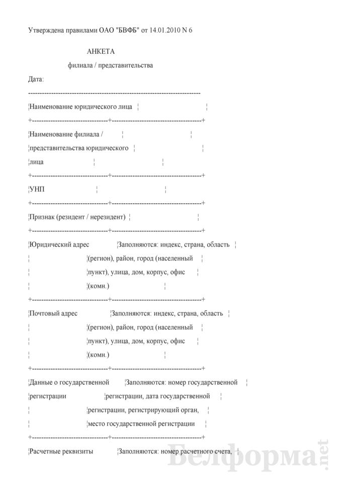 Анкета филиала / представительства (Форма). Страница 1