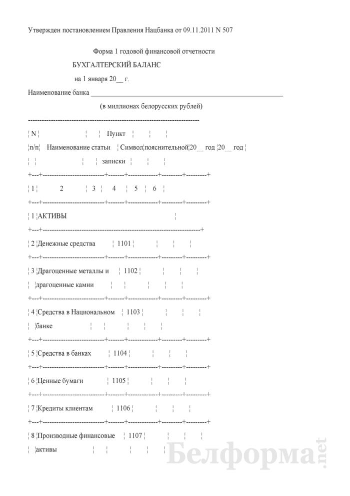 Бухгалтерский баланс. Форма 1 годовой финансовой отчетности банков. Страница 1