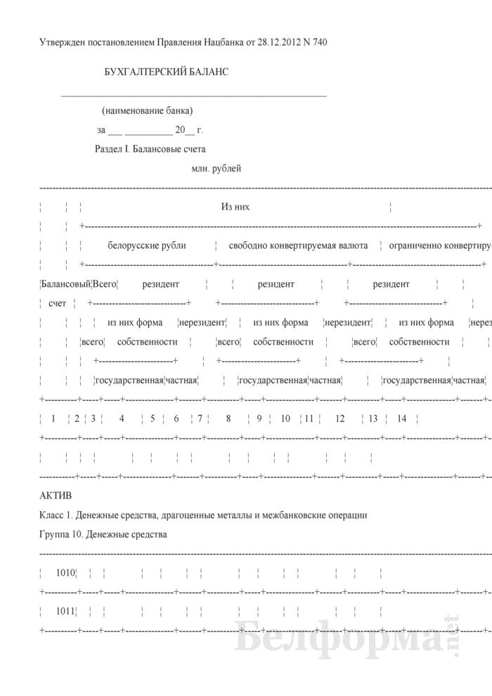 Бухгалтерский баланс (для банков и небанковских кредитно-финансовых организаций). Страница 1