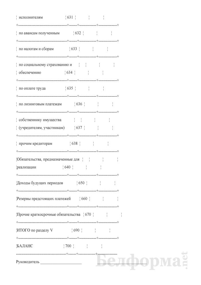 Бухгалтерский баланс (форма 1) (для организаций системы Минсельхозпрода). Страница 6