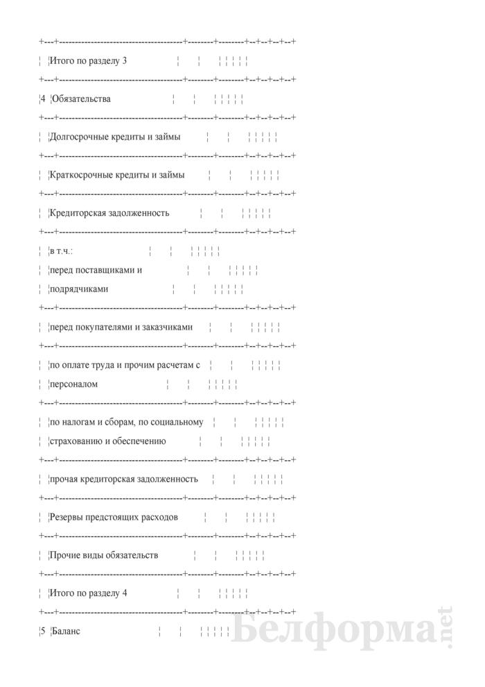 Проектно-балансовая ведомость по организации. Страница 3