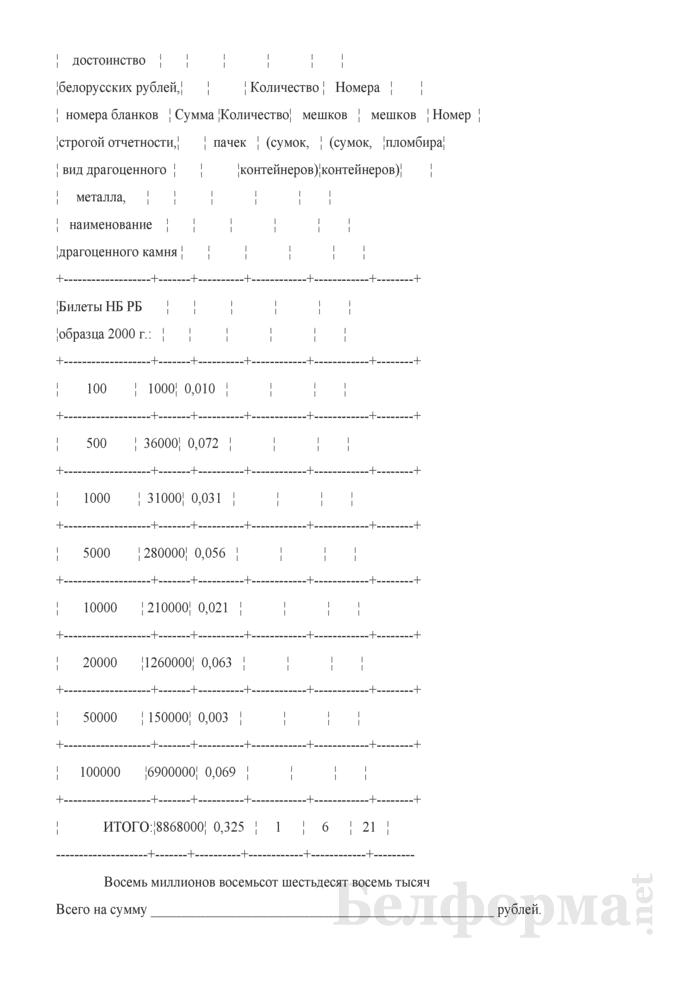 Образец заполнения сопроводительной описи при отправке обмененных банкнот Национального банка Республики Беларусь структурным подразделением. Страница 2