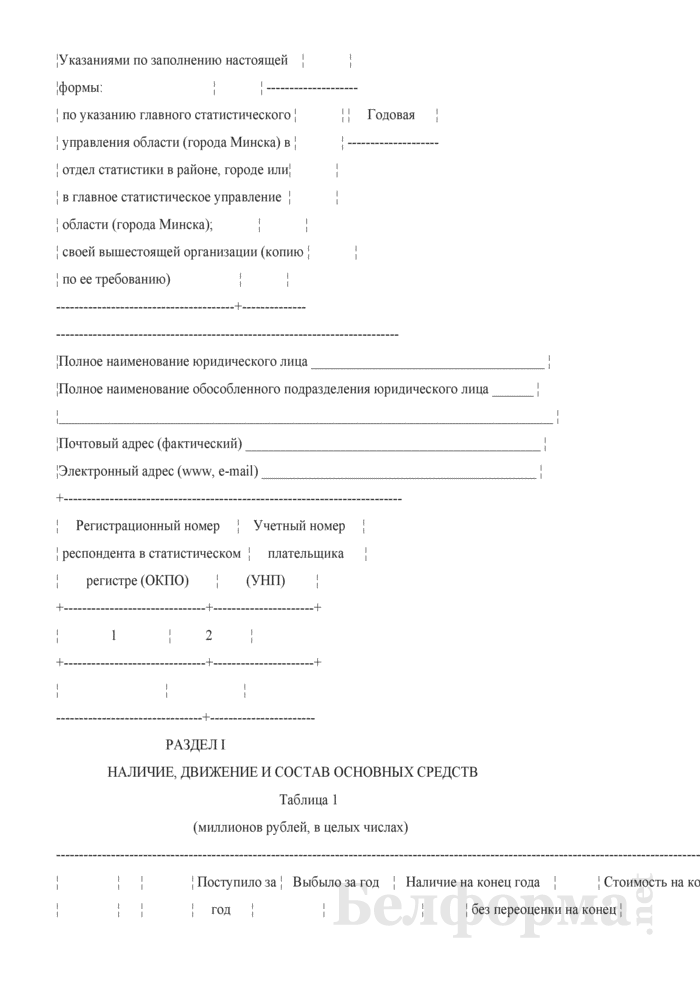 Отчет о наличии и движении основных средств и других внеоборотных активов (Форма 1-ф (ос) (годовая)). Страница 2