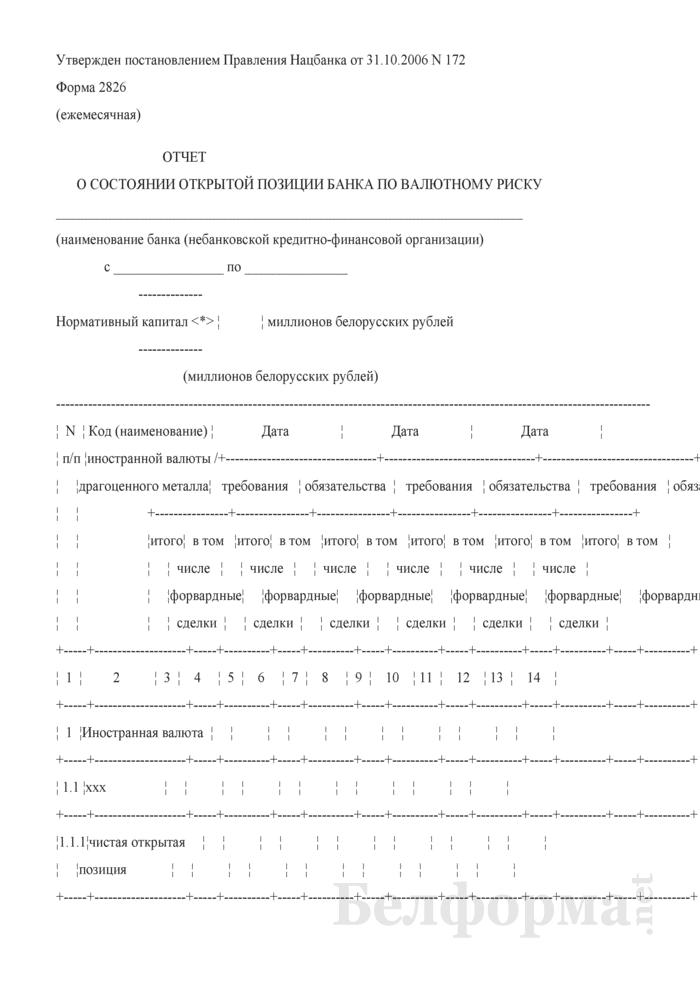 Отчет о состоянии открытой позиции банка по валютному риску. Форма № 2826 (ежемесячная). Страница 1