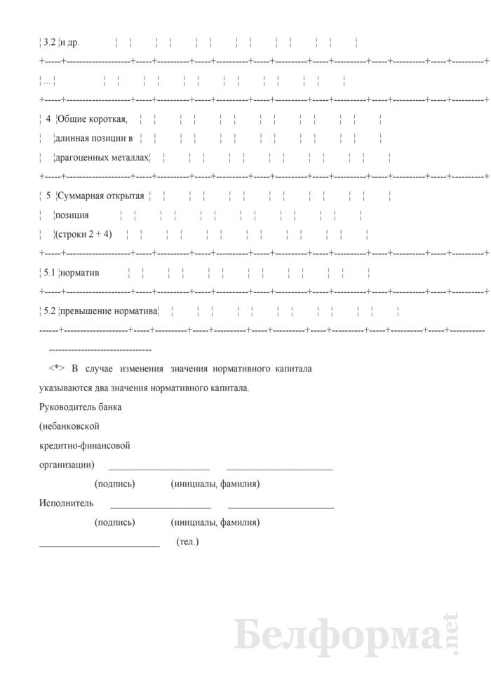 Отчет о состоянии открытой позиции банка по валютному риску. Форма № 2826 (ежемесячная). Страница 3