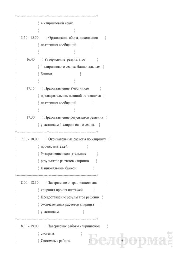 Приложение 2 к договору на оказание услуг по обеспечению проведения межбанковских расчетов. График приема и обработки платежных сообщений системой BIS. Страница 4