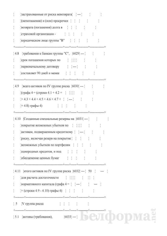 Расчет достаточности нормативного капитала. Форма № 2801 (ежемесячная). Страница 12