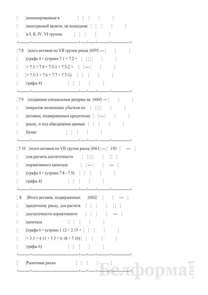 Расчет достаточности нормативного капитала. Форма № 2801 (ежемесячная). Страница 21