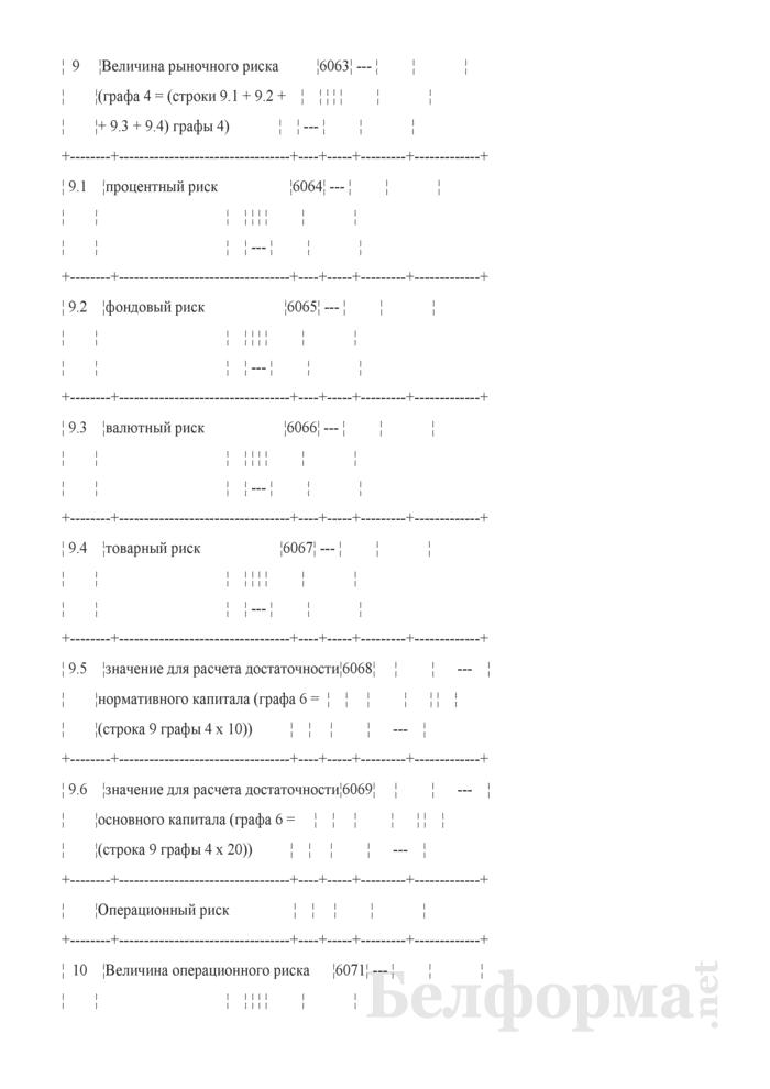 Расчет достаточности нормативного капитала. Форма № 2801 (ежемесячная). Страница 22