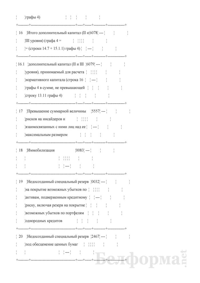 Расчет достаточности нормативного капитала. Форма № 2801 (ежемесячная). Страница 28