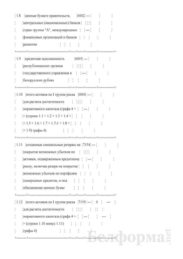 Расчет достаточности нормативного капитала. Форма № 2801 (ежемесячная). Страница 4