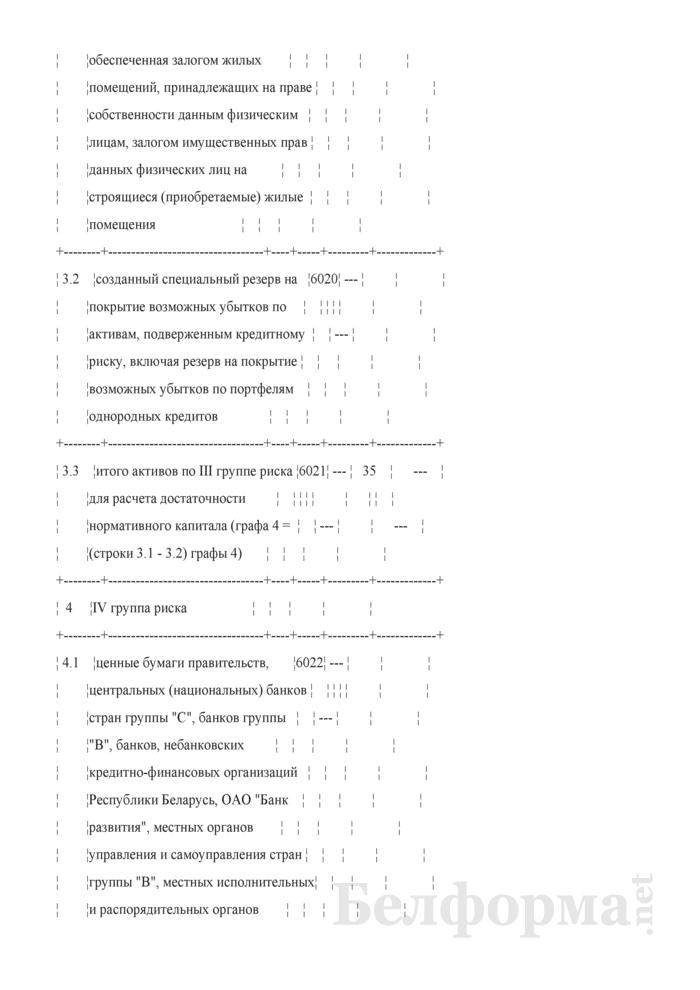 Расчет достаточности нормативного капитала. Форма № 2801 (ежемесячная). Страница 9