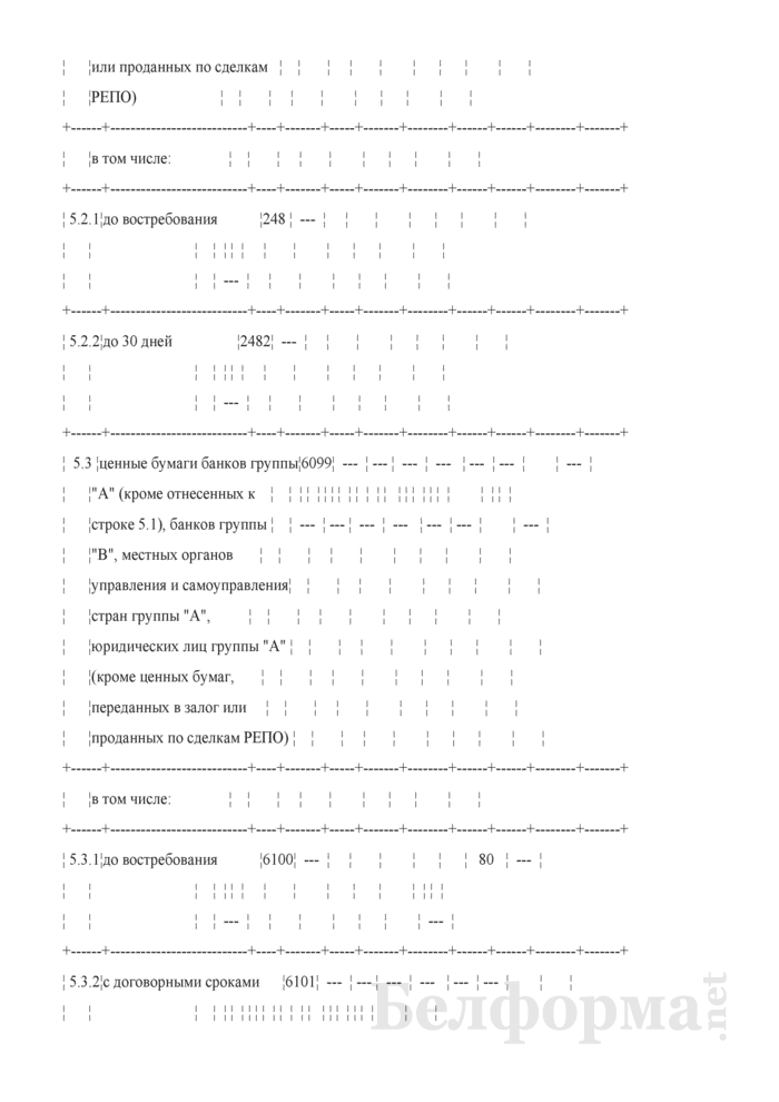 Расчет ликвидности. Форма № 2809 (ежемесячная). Страница 13