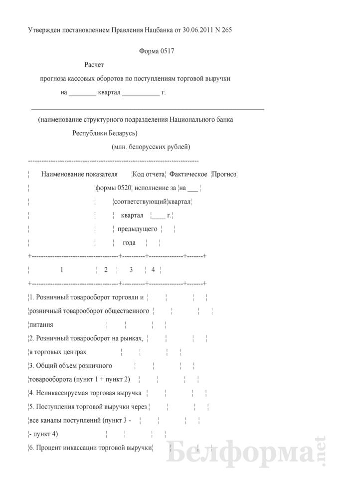 Расчет прогноза кассовых оборотов по поступлениям торговой выручки (Форма 0517). Страница 1
