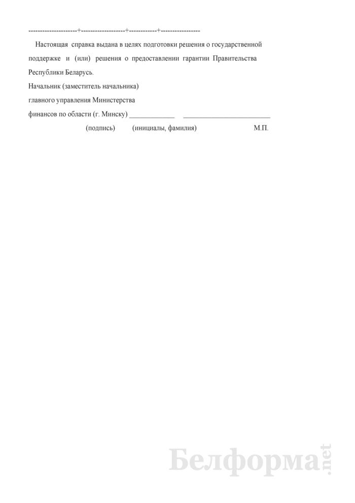 Справка о состоянии расчетов по полученным из республиканского бюджета займам, ссудам (в том числе пролонгированным), исполненным гарантиям Правительства Республики Беларусь. Страница 2