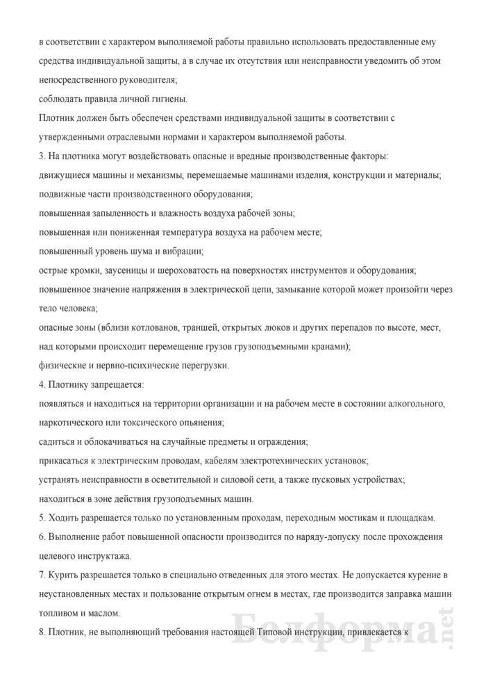 Типовая инструкция по охране труда для плотника. Страница 2