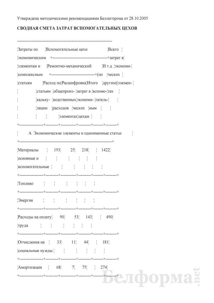 Сводная смета затрат вспомогательных цехов. Страница 1