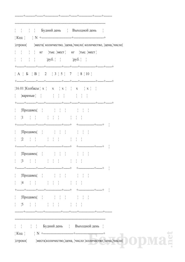 Блокнот регистрации объемов продажи и цен на товары на рынках, в торговых центрах. Страница 11
