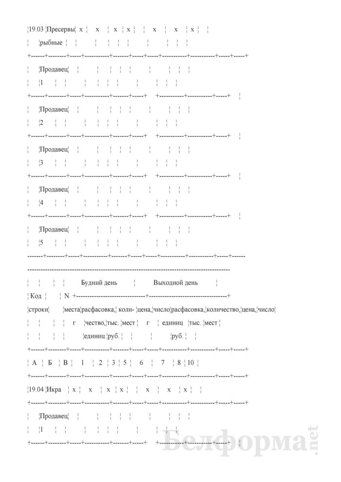 Блокнот регистрации объемов продажи и цен на товары на рынках, в торговых центрах. Страница 19