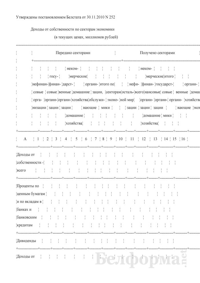 Доходы от собственности по секторам экономики. Страница 1