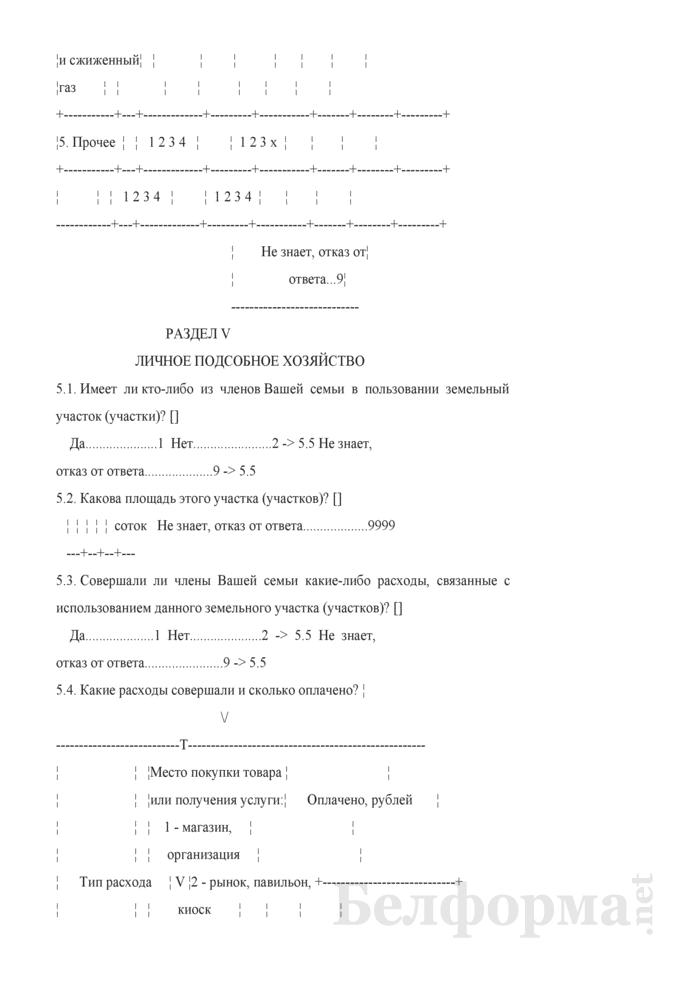 Ежеквартальный вопросник по расходам и доходам домашних хозяйств (Форма 4-дх (вопросник) (квартальная)). Страница 17