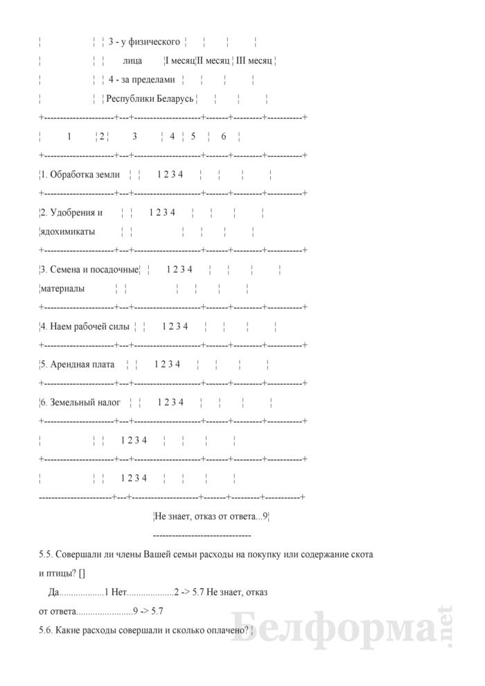 Ежеквартальный вопросник по расходам и доходам домашних хозяйств (Форма 4-дх (вопросник) (квартальная)). Страница 18