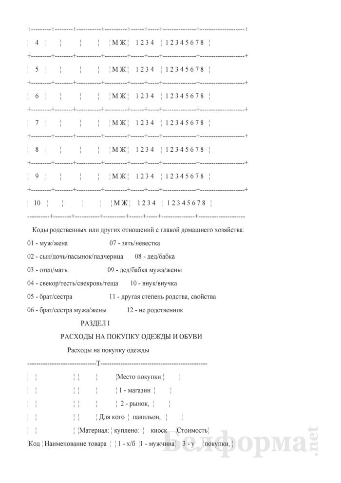 Ежеквартальный вопросник по расходам и доходам домашних хозяйств (Форма 4-дх (вопросник) (квартальная)). Страница 4