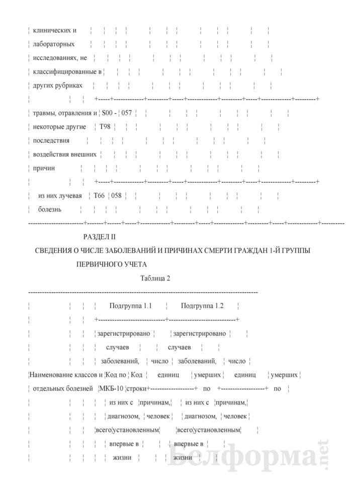 Отчет о числе заболеваний и причинах смерти граждан, пострадавших от катастрофы на Чернобыльской АЭС, других радиационных аварий. Форма 1-заболеваемость ЧАЭС (Минздрав) (годовая). Страница 11