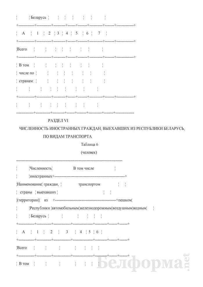 Отчет о численности иностранных граждан, посетивших Республику Беларусь, и граждан Республики Беларусь, выехавших за границу (Форма 4-пс (Госпогранкомитет) (квартальная)). Страница 6