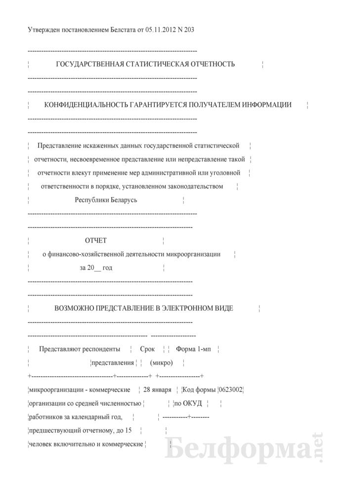 Отчет о финансово-хозяйственной деятельности микроорганизации (Форма 1-мп (микро) (годовая)). Страница 1