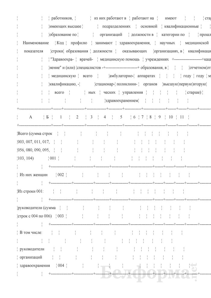Отчет о медицинских (фармацевтических) работниках (Форма 1-медкадры (Минздрав) (годовая)). Страница 4