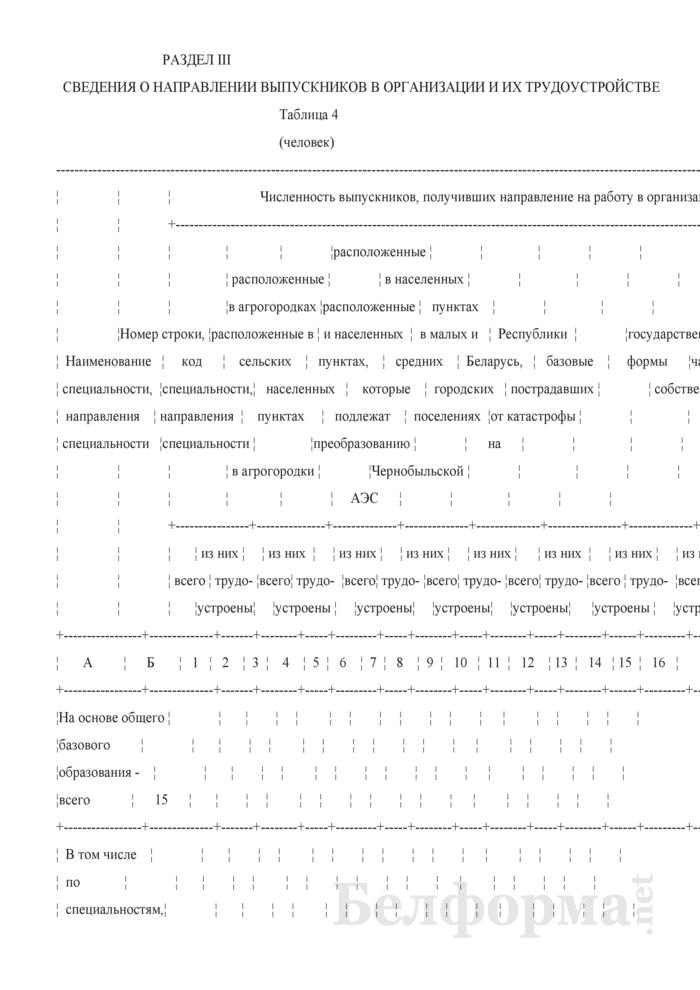 Отчет о направлении на работу и трудоустройстве выпускников учреждений образования, получивших среднее специальное образование в дневной форме получения образования за счет средств республиканского и (или) местных бюджетов (Форма 1-ссуз (распределение) (Минобразование) (1 раз в год)). Страница 9