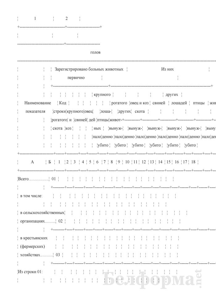 Отчет о незаразных болезнях животных (Форма 2-ветболезни (Минсельхозпрод) (полугодовая)). Страница 3