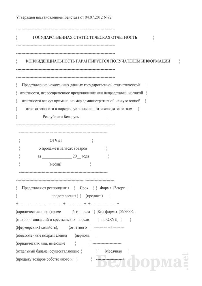 Отчет о продаже и запасах товаров (Форма 12-торг (продажа) (месячная, срочная)). Страница 1