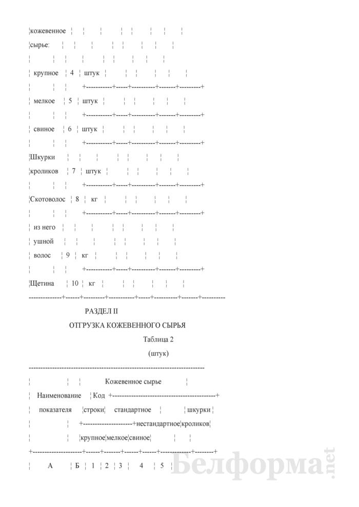 Отчет о производстве, отгрузке и остатках кожевенного, шубно-мехового, эндокринно-ферментного сырья, скотоволоса и щетины (Форма 12-сырье (Минсельхозпрод) (месячная)). Страница 4