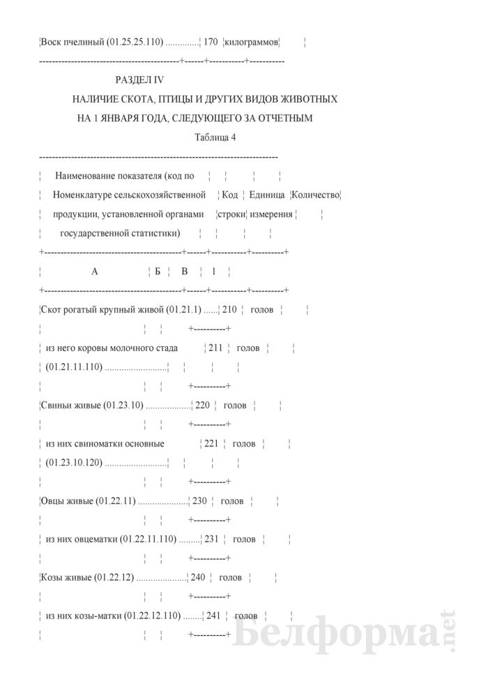 Отчет о производстве продукции животноводства и численности скота и птицы (Форма 1-сх (фермер) (годовая), код формы по ОКУД 0606048). Страница 6