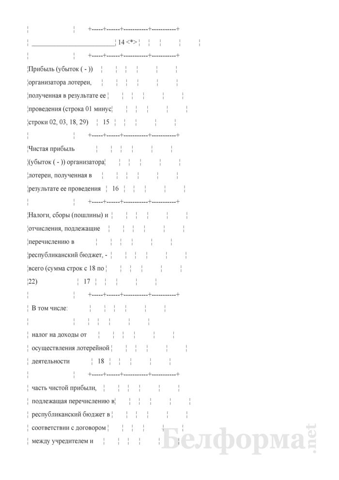Отчет о проведении лотереи. Форма № 12-лотереи (Минфин) (месячная). Страница 4